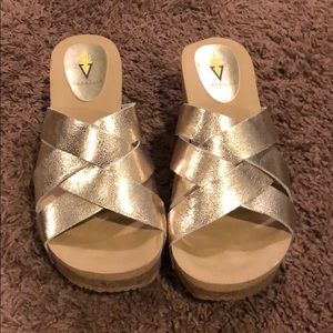 Gold Volatile Cork Heels